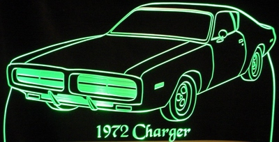 1972 Dodge Charger Acrylic Lighted Edge Lit LED Car Sign / Light Up Plaque 72
