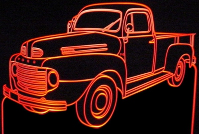 1949 Ford Pickup Truck F3 Acrylic Lighted Edge Lit LED Sign / Light Up Plaque Full Size Made in USA