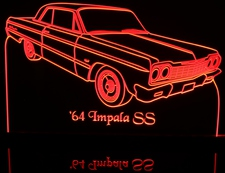 1964 Chevy Impala SS 2 Door Hardtop Acrylic Lighted Edge Lit LED Sign / Light Up Plaque Full Size Made in USA