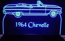 1964 Chevrolet Chevelle Convertible Acrylic Lighted Edge Lit LED Car Sign / Light Up Plaque Chevy