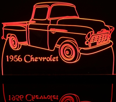 1956 Chevy Pickup Truck Acrylic Lighted Edge Lit LED Sign / Light Up Plaque Full Size Made in USA