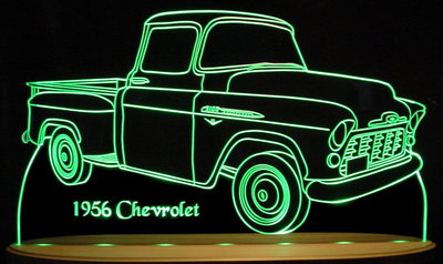 1956 Chevy Pickup Truck Acrylic Lighted Edge Lit LED Sign / Light Up Plaque