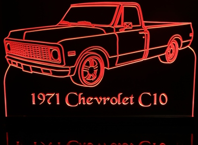 1971 Chevrolet Pickup Truck C10 Acrylic Lighted Edge Lit LED Sign / Light Up Plaque 71 Chevy