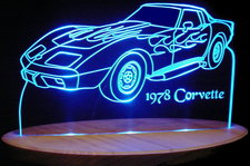 1978 Chevrolet Corvette Acrylic Lighted Edge Lit LED Car Sign / Light Up Plaque 78 Chevy