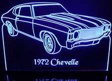 1972 Chevrolet Chevelle Acrylic Lighted Edge Lit LED Car Sign / Light Up Plaque 72 Chevy