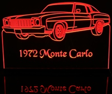 1972 Chevy Monte Carlo Acrylic Lighted Edge Lit LED Car Sign / Light Up Plaque Chevrolet
