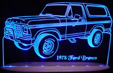 1978 Ford Bronco Acrylic Lighted Edge Lit LED Pickup Truck Sign / Light Up Plaque