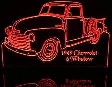 1949 Chevy Pickup Truck 5 Window No visors with spare Acrylic Lighted Edge Lit LED Sign / Light Up Plaque Full Size Made in USA