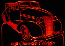 1938 Chevrolet Cabriolet Acrylic Lighted Edge Lit LED Car Sign / Light Up Plaque 38 Chevy