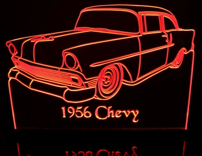 1956 Chevy 2 Door Sedan Acrylic Lighted Edge Lit LED Sign / Light Up Plaque Full Size Made in USA