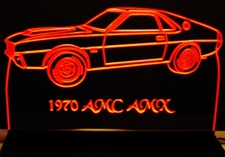 1970 AMC AMX Acrylic Lighted Edge Lit LED Sign / Light Up Plaque Full Size Made in USA