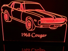 1968 Mercury Cougar Acrylic Lighted Edge Lit LED Car Sign / Light Up Plaque