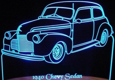 1940 Chevrolet 2 Door Sedan Acrylic Lighted Edge Lit LED Car Sign / Light Up Plaque 40 Chevy