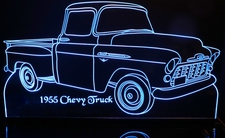 1955 Chevrolet Pickup Truck Acrylic Lighted Edge Lit LED Sign / Light Up Plaque Chevy Full Size Made in USA