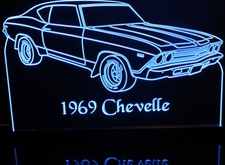 1969 Chevrolet Chevelle Acrylic Lighted Edge Lit LED Sign / Light Up Plaque Chevy Full Size Made in USA