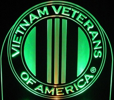 Vietnam Veterans of America with Map Acrylic Lighted Edge Lit LED Sign / Light Up Plaque Full Size Made in USA