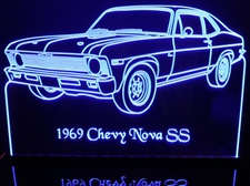 1969 Chevy Nova SS Acrylic Lighted Edge Lit LED Car Sign / Light Up Plaque Chevrolet