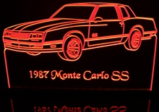 1987 Chevy Monte Carlo SS Acrylic Lighted Edge Lit LED Car Sign / Light Up Plaque Chevrolet