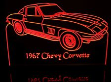 1967 Chevy Corvette Stingray Acrylic Lighted Edge Lit LED Sign / Light Up Plaque Full Size Made in USA