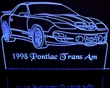 1998 Pontiac Trans Am Acrylic Lighted Edge Lit LED Car Sign / Light Up Plaque
