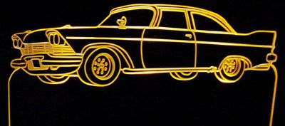 1958 Plymouth Acrylic Lighted Edge Lit LED Car Sign / Light Up Plaque