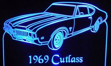 1969 Olds Cutlass Acrylic Lighted Edge Lit LED Sign / Light Up Plaque Full Size Made in USA