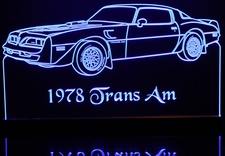 1978 Trans Am Acrylic Lighted Edge Lit LED Sign / Light Up Plaque Full Size Made in USA