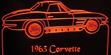 1963 Chevy Corvette Acrylic Lighted Edge Lit LED Car Sign / Light Up Plaque Chevrolet