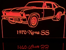 1970 Nova SS Acrylic Lighted Edge Lit LED Car Sign / Light Up Plaque