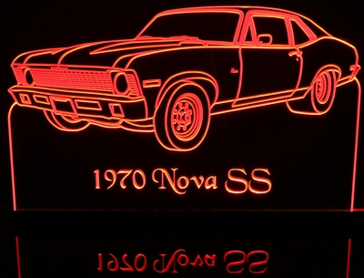 1970 Nova SS Acrylic Lighted Edge Lit LED Sign / Light Up Plaque Full Size Made in USA