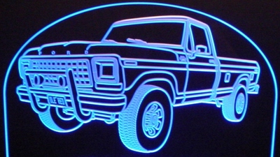 1978 Ford F250 4x4 Pickup Truck Acrylic Lighted Edge Lit LED Sign / Light Up Plaque 4wd F-250 PU