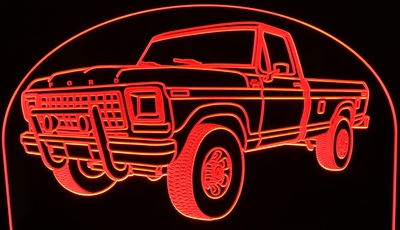 1979 Ford Pickup Truck F250 with Cattle Guards Acrylic Lighted Edge Lit LED Truck Sign / Light Up Plaque