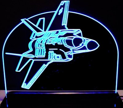 Jet Airplane Acrylic Lighted Edge Lit LED Sign / Light Up Plaque