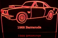 1968 Barracuda Cuda Acrylic Lighted Edge Lit LED Sign / Light Up Plaque Full Size Made in USA