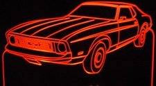 1973 Ford Mustang Acrylic Lighted Edge Lit LED Car Sign / Light Up Plaque
