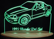 1993 Honda Del Sol Acrylic Lighted Edge Lit LED Car Sign / Light Up Plaque