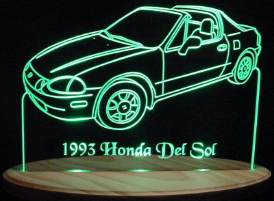 1993 honda del sol acrylic lighted edge lit led car sign light up plaque valley view designs. Black Bedroom Furniture Sets. Home Design Ideas