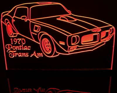 1970 Pontiac Firebird Acrylic Lighted Edge Lit LED Car Sign / Light Up Plaque