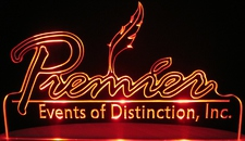Premier Events Advertising Business Logo Acrylic Lighted Edge Lit LED Sign / Light Up Plaque Full Size Made in USA