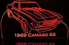 1969 Chevy Camaro SS Acrylic Lighted Edge Lit LED Car Sign / Light Up Plaque Chevrolet