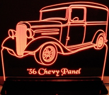 1936 Chevy Panel Acrylic Lighted Edge Lit LED Sign / Light Up Plaque Chevrolet