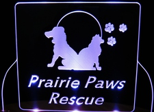 Prairie Paws SAMPLE ONLY Business Advertising Logo Acrylic Lighted Edge Lit Led Car Sign / Light Up Plaque