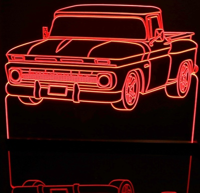1962 Chevy C10 Pickup Truck Acrylic Lighted Edge Lit LED Sign / Light Up Plaque Chevrolet Full Size Made in USA