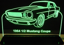 1964 1/2 Ford Mustang Coupe Acrylic Lighted Edge Lit LED Car Sign / Light Up Plaque