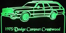 1975 Dodge Coronet Crestwood Acrylic Lighted Edge Lit LED Car Sign / Light Up Plaque