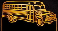 1956 School Bus Acrylic Lighted Edge Lit LED Sign / Light Up Plaque Full Size Made in USA