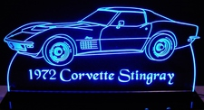1972 Corvette Stingray Acrylic Lighted Edge Lit LED Sign / Light Up Plaque Full Size Made in USA