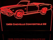 1969 Chevelle SS Convertible Acrylic Lighted Edge Lit LED Car Sign / Light Up Plaque