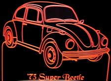 1973 VW Volkswagon Super Beetle Acrylic Lighted Edge Lit LED Car Sign / Light Up Plaque
