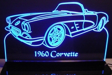 1960 Chevy Corvette Convertible Acrylic Lighted Edge Lit LED Sign / Light Up Plaque Full Size Made in USA